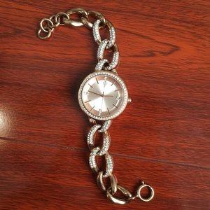 Jennifer Lopez SS Rose Gold Crystal Link Watch
